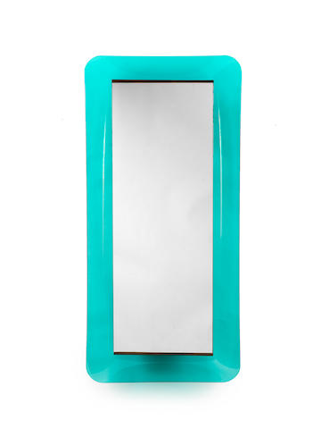 A rectangular mirror with blue curved glass frame Fontana Arte, Italian c 1960