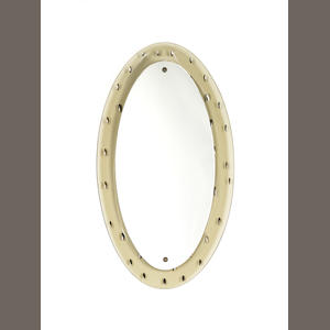 An oval mirror with oval glass frame with cut and mirrored decoration Fontana Arte, Italian C 1950