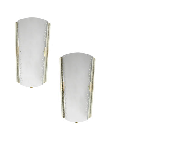 A pair of  illuminated mirror with lateral perforated painted metal frame