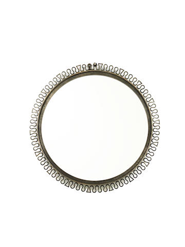 A Circular Mirror French, circa 1940  wrought iron and mirrored glass  Diameter: 27 15/16 in. 71 cm.