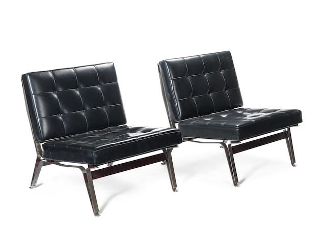 Ico Parisi for Cassina A Pair of 856 Lounge Chairs  designed 1958  steel frames with stained teak stretchers and black buttoned leather upholstery   Height: 28 3/4 in. 73 cm.