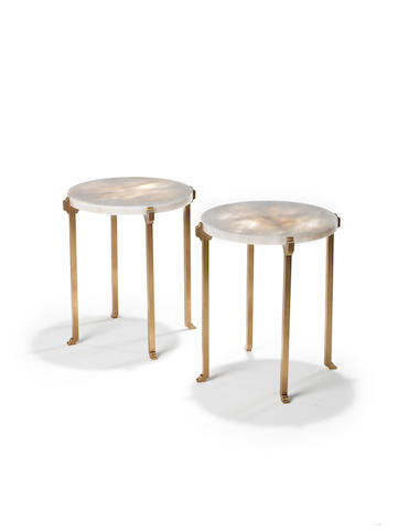 Pair of round bronze and rock crystal side tables, Paul Belvoir