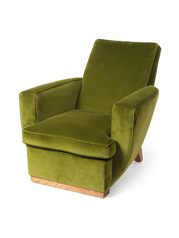 Charles Dudouyt An Armchair circa 1940  oak and velvet upholstery  Height: 31 1/8 in. 79 cm.
