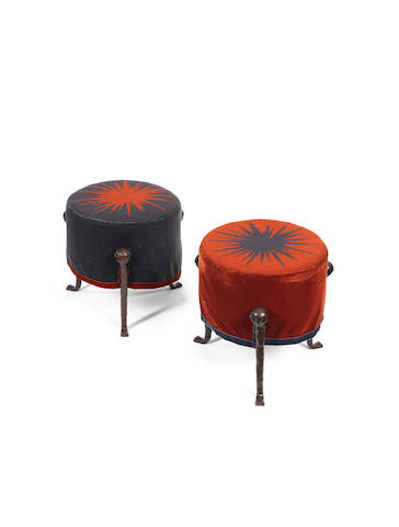 A pair of bronze and upholstered stools  Garouste and Bonetti c 1990
