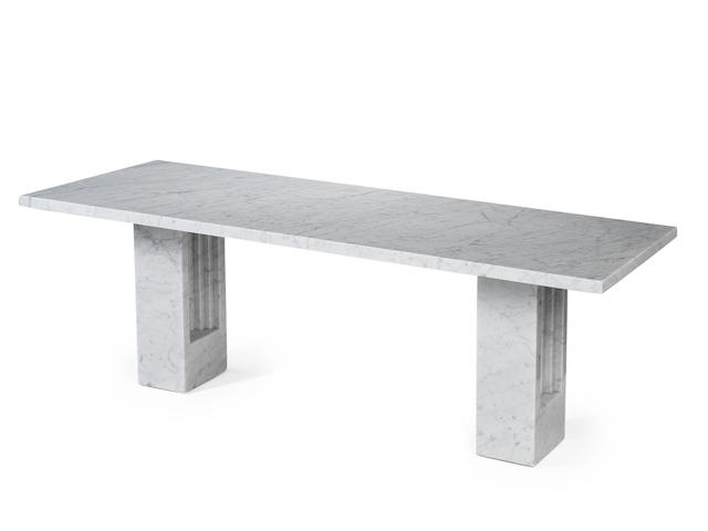 Carlo Scarpa and Marcel Breuer for Simon A Delfi Table designed 1968  white marble  29 1/8 x 86 5/8 x 35 7/16 in. 74 x 220 x 90 cm.