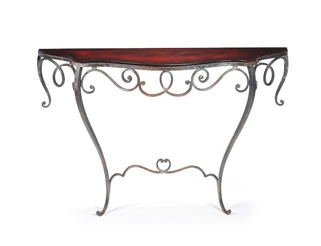 A wrought iron console table with laquered top French c 1930