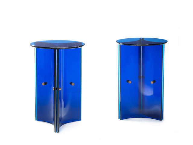 Fontana Arte A Pair of Blue Glass Side Tables  circa 1960  with chromed steel fittings  Height: 30 in. 76.2 cm. Diameter: 19 11/16 in. 50 cm