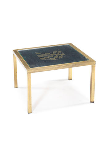 A brass and nickled metal sidetable with glass top Willy Daro, French c 1970