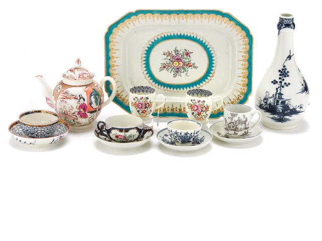 An assembled group of Worcester porcelain<BR />fourth quarter 18th century