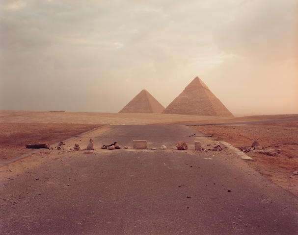 Richard Misrach (born 1949); Road Blockade and Pyramids;