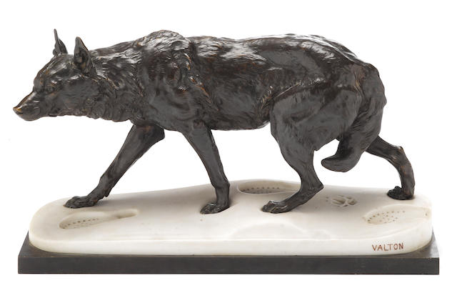 A French patinated bronze and white marble study of a wolf  after a model by Charles Valton (French, 1851-1918) Colin foundry, Paris late 19th/early 20th century