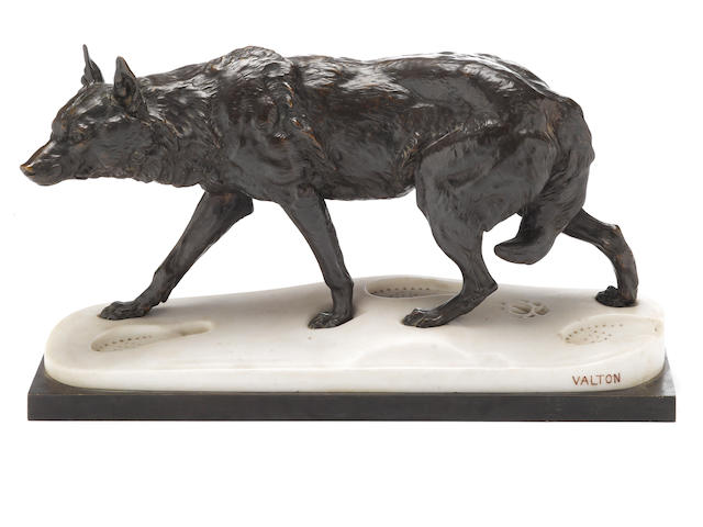 A bronze wolf, signed Valton