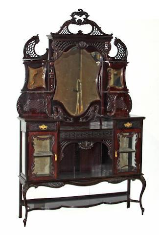 Late Victorian Rococo style mahogany etegere, c.1900