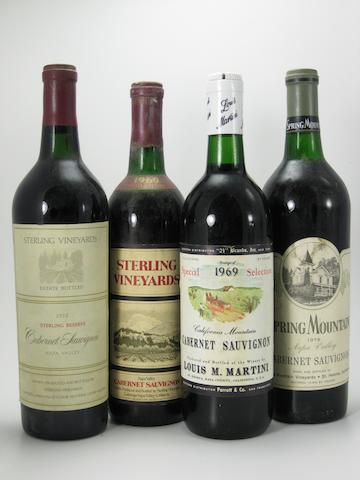 Louis Martini Cabernet Sauvignon 1969 (7)<BR />Sterling Cabernet Sauvignon 1969 (1)<BR />Sterling Cabernet Sauvignon 1972 (1)<BR />Spring Mountain Cabernet Sauvignon 1973 (1)<BR />Sterling Reserve Cabernet Sauvignon 1973 (1)<BR />Clos du Val Cabernet Sauvignon 1974 (1)