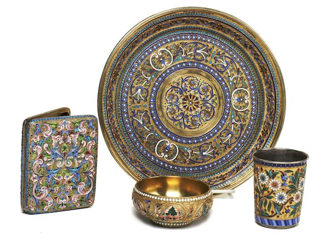 A Russian 84 standard silver-gilt and cloisonné enamel tray<BR />by Ivan Saltykov, Moscow, 1889