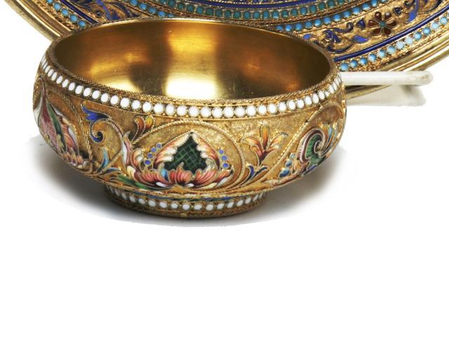 A Russian 84 standard silver-gilt and cloisonné enamel bowl<BR />by Vasilii Agafonov, Moscow, 1899-1908