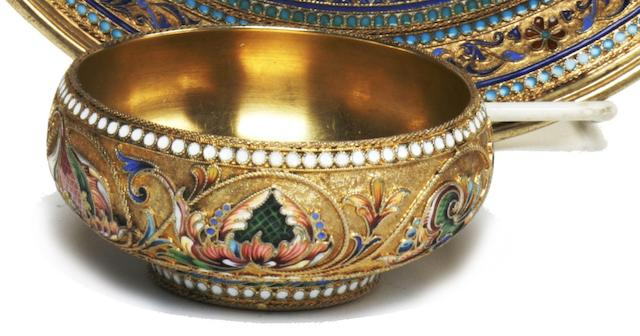 A Russian 84 standard silver-gilt and cloisonné enamel bowl<BR />by Vasilii Agafonov, Moscow, 1899-1908