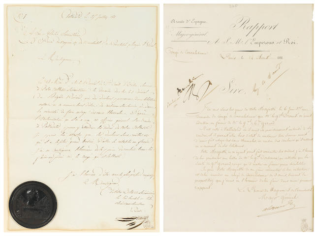 "BONAPARTE, NAPOLEON.  1769-1821. Autograph Endorsement (""NP"") as Emperor, in margin of a Letter Signed by Louis-Alexandre Berthier, 1 p, folio (with integral blank), Paris, August 14, 1811,"