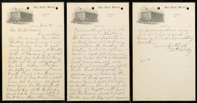 "CODY, WILLIAM F. 1846-1917. Autograph Letter Signed (""W.F. Cody""), 3 pp, 8vo, Worcester, MA, June 30, 1907, to Joseph McCaddon, on letterhead of Bay State House hotel,"