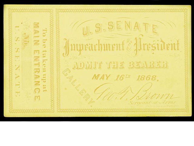 JOHNSON, ANDREW. DS 1865. 2 DS + Tickets
