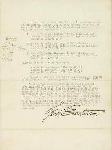 "EASTMAN, GEORGE.  1854-1932. Typed Document Signed (""Geo Eastman""), 1 p, 4to, St. Albans, VT, April 23, 1931,"