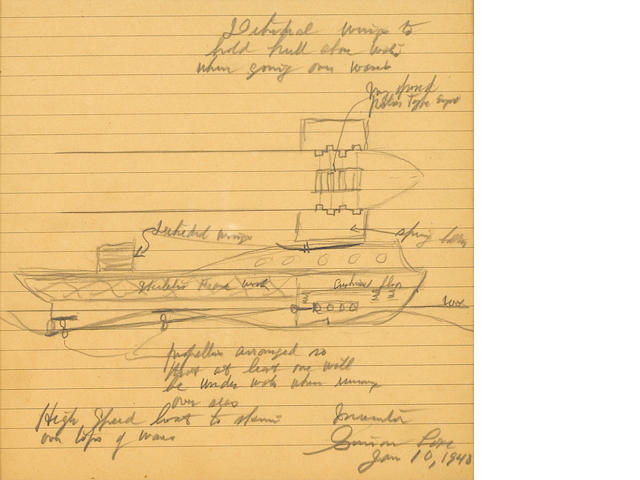 "LAKE, SIMON.  1866-1945. Autograph Manuscript Signed (""Simon Lake""), 1 p, 4to, n.p., January 10, 1040, on foolscap, being an annotated pencil sketch of his submarine design,"