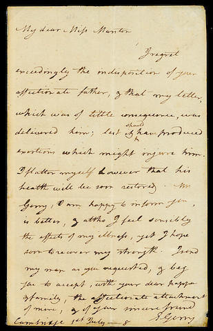 "GERRY, ELBRIDGE.  1744-1814. Autograph Letter Signed (""E. Gerry""), 1 p, 8vo, Cambridge, July 1, n.y., to Miss Manton,"