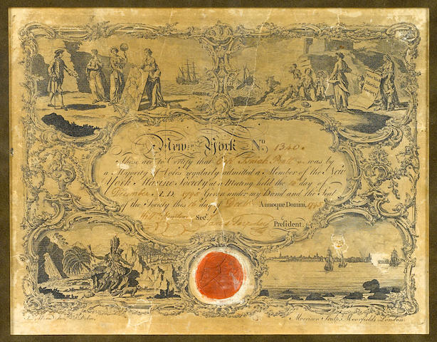 MARINE SOCIETY OF NEW YORK. Engraved Document Signed of James Sardoskey, 1 p, 4to, New York, December 16, 1795,