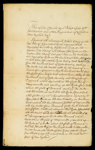 "ARROWSIC ISLAND, MAINE. Manuscript in an unknown hand, 1 p (with integral blank), legal folio, n.p., c.1714, titled in docket ""A Particular of the Lands Claimed by Sr Bibye Lake and other Proprietors in New England"