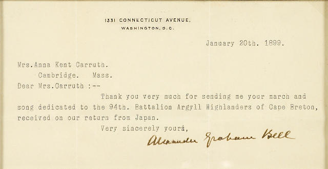 "BELL, ALEXANDER GRAHAM.  1847-1922. Typed Letter Signed (""Alexander Graham Bell""), 1 p, oblong 8vo, Washington, DC, January 20, 1899, to Mrs. Anna Kent Carruth,"