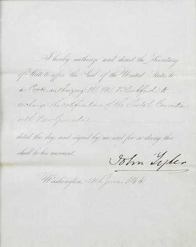 "TYLER, JOHN. 1790-1862. Document Signed (""John Tyler"") as President, partially printed and accomplished in manuscript, 1 p, 4to, Washington, June 28, 1844,"