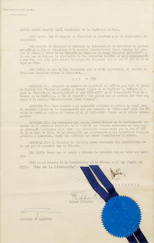 "CASTRO, FIDEL.  B. 1926. Document Signed (""Fidel Castro"") as Prime Minister of the Republic of Cuba, 1 p, legal folio, Havana, June 12, 1959,"