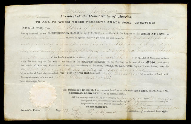 "JACKSON, ANDREW. Documen Signed as President (""Andrew Jackson""), partially printed and accomplished in manuscript,"