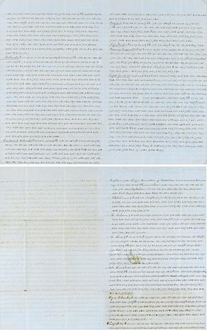CIVIL WAR LETTER IN CODE. Manuscript, 3 pp recto and verso, legal folio (conjoining leaves), n.p., c.1861, written largely in code,