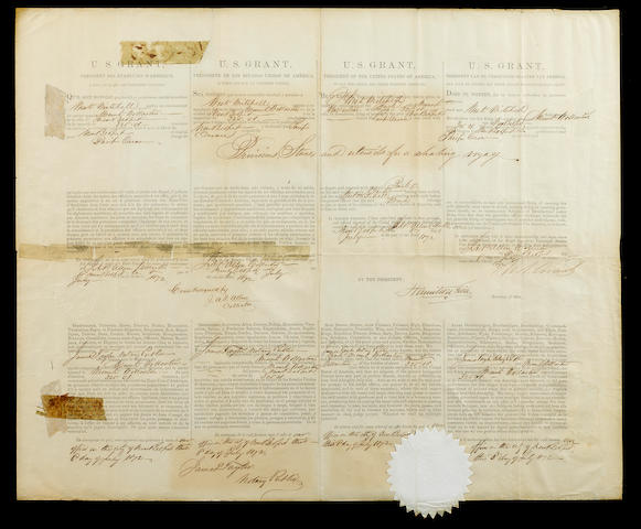 "GRANT, ULYSSES S.  1822-1885. Document Signed (""Ulysses S. Grant"") as President, partially printed and accomplished in manuscript, 1 p, folio, New Bedford, MA, July 8, 1872,"
