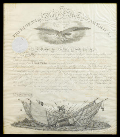 "POLK, JAMES K.  1795-1849. Document Signed (""James K. Polk"") as President, partially printed and accomplished in manuscript, 1 p, folio, on vellum, Washington, March 25, 1847,"