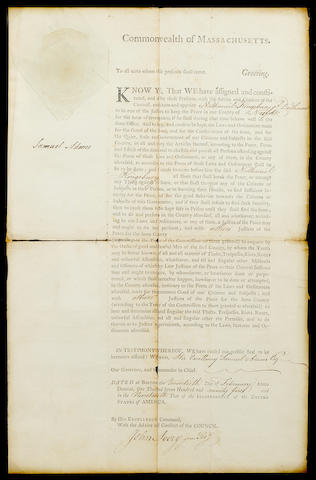 "ADAMS, SAMUEL. 1722-1803. Document Signed (""Samuel Adams""), 1 p, legal folio, Boston, February 20, 1775,"