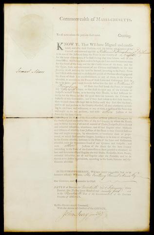 "ADAMS, SAMUEL. 1722-1803. Document Signed (""Samuel Adams""), 1 p, legal folio, Boston, February 20, 1775,"