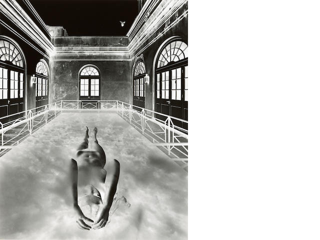 Jerry Uelsmann (born 1934); Untitled (Floating Female Nude in Clouds, with Distant Bird);
