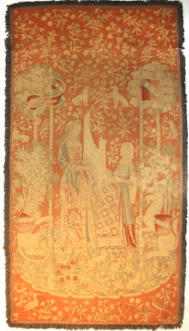 A French Gothic style tapestry based on the Unicorn tapestry series late 19th century
