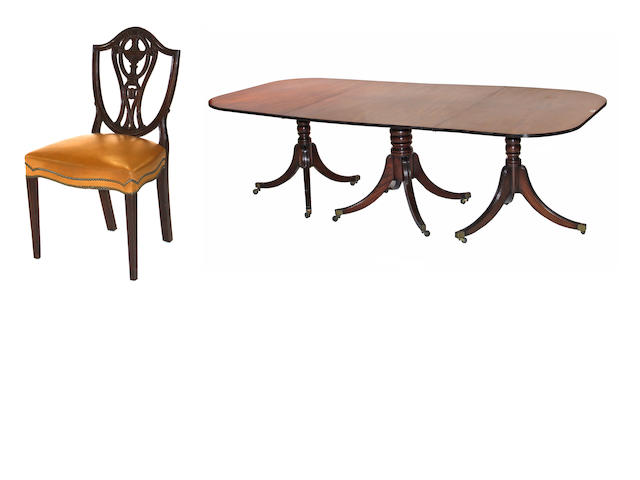 A George III style mahogany dining suite  second quarter 20th century