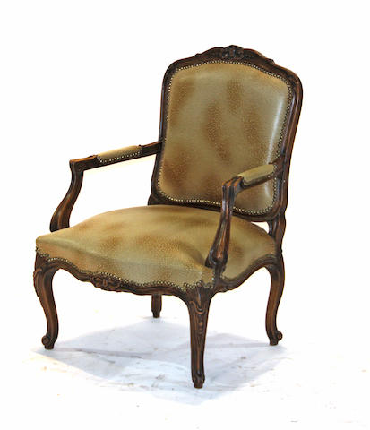 A Louis XV style carved beechwood armchair late 19th century