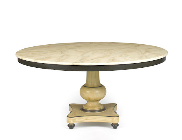 A contemporary Baroque style paint decorated dining table