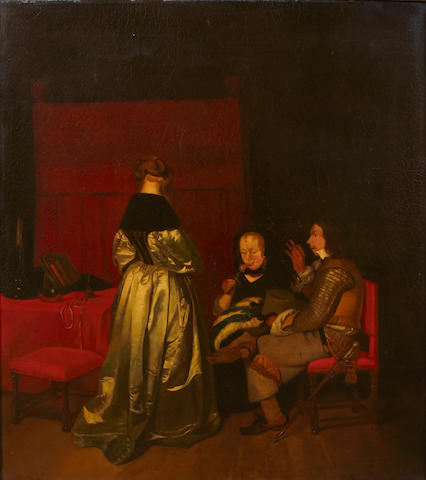 Dutch School, 19th Century Figures conversing in an interior 28 x 24 1/2in