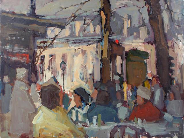 Si Chen Yuan (1911-1974) Cafe scene 30 x 40in
