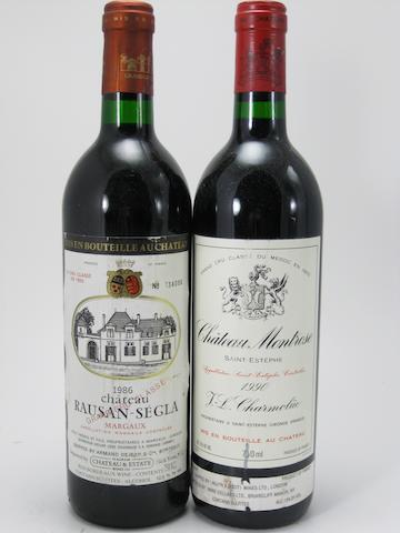 Château Montrose 1990 (8)<BR />Château Rauzan-Ségla 1986 (2)