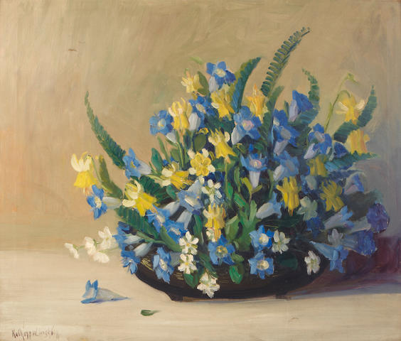 Kathryn Woodman Leighton (American, 1876-1952) Still life with blue and yellow flowers 25 x 30in