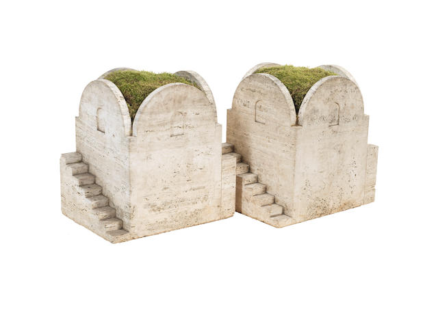 A pair of architectural travertine planters Italian c 1930