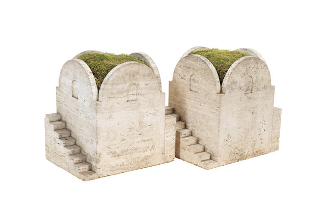 A Pair of Architectural Planters Italian, circa 1930  travertine  Height: 21 5/8 in. 55 cm.