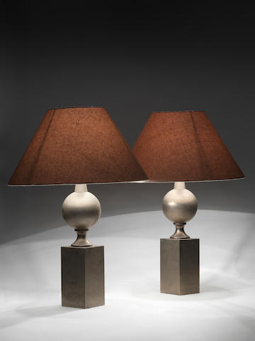A Pair of Table Lamps  French, circa 1960  nickeled metal  Height: 20 1/6 in. 51 cm.